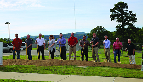 "Eric Stipin of Turn Key Construction; UA Rich Mountain Board of Visitors: Gar Eisele, Al Gathright, Sue Cavner, Michael Wood, Chancellor Phillip Wilson, Avel Mendoza, Michael Myers, Rep. John Maddox and Foundation Board Members Charles ""Bo"" Collins, and John Vacca."