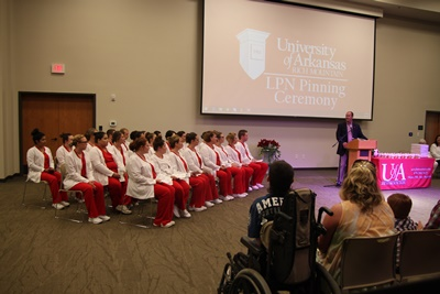 UA Rich Mountain Chancellor Dr. Phillip Wilson with LPN Class of 2017